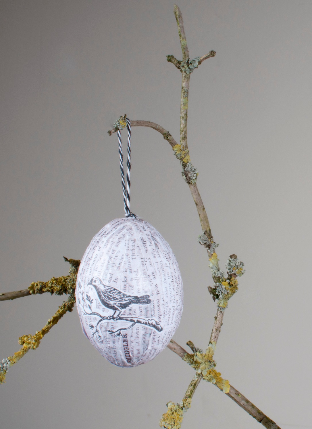 Decoupaged Tree Egg Close up