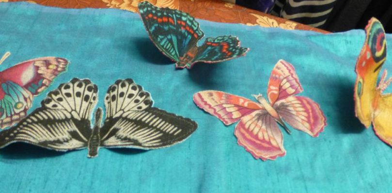 8.Arrange butterflies on fabric